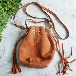 Topshop Orange Suede Leather Drawstring Bucket Bag